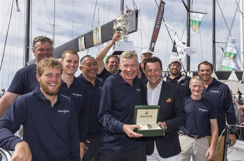 Paul Clitheroe and the crew of the TP52 'Balance', winners of the 2015 Rolex Sydney Hobart Yacht Race.