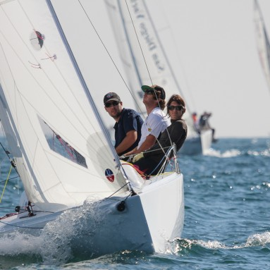 Ullman Sails powered J/70 driving upwind